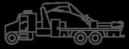 ORO OTR tire truck body series illustrated icon.