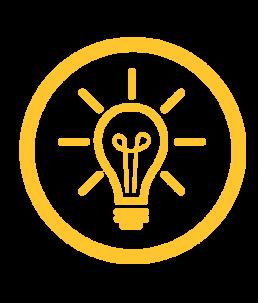 Custom Solutions icon, lightbulb idea.