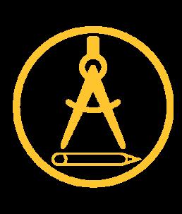 Intelligent Design Icon, pencil and compass.