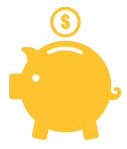 Life cycle icon, piggy bank with money.
