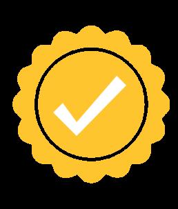 Quality icon, check mark.